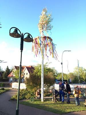 Die Nachbarschaft rund um den Dorfplatz stellt jedes Jahr einen Maibaum auf.